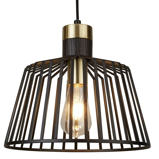 1 LIGHT CAGE FRAME PENDANT, BLACK AND GOLD 9411BK
