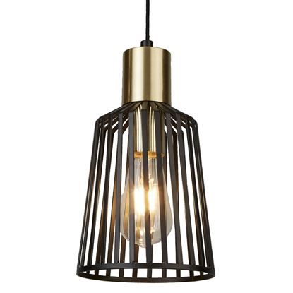 1 LIGHT CAGE FRAME PENDANT, BLACK AND GOLD 9412BK