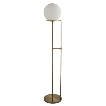 1 LIGHT FLOOR LAMP, ANTIQUE BRASS, OPAL WHITE GLASS SHADE 8093AB