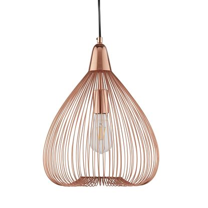 1 LIGHT PUMPKIN WIRE CAGE PENDANT, COPPER 3591CU