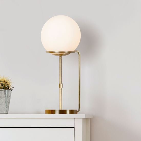 1 LIGHT TABLE LAMP, ANTIQUE BRASS, OPAL WHITE GLASS SHADES 8092AB