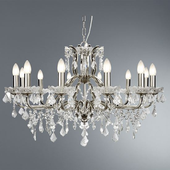 12 LIGHT CHANDELIER, CLEAR CRYSTAL DROPS & TRIM, SATIN SILVER 87312-12SS