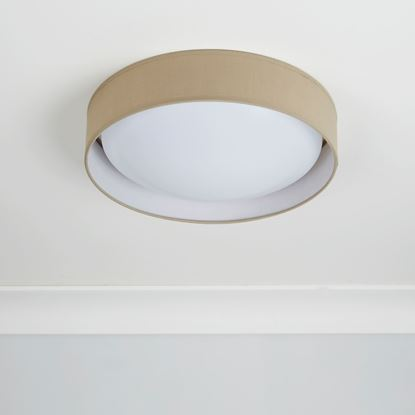 15 WATT 1 LIGHT LED FLUSH FITTING, ACRYLIC DIFFUSER, BROWN FABRIC SHADE 9371-37BR