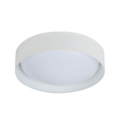 15 WATT 1 LIGHT LED FLUSH FITTING, ACRYLIC DIFFUSER, WHITE FABRIC SHADE 9371-37WH