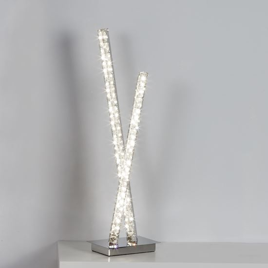 2 LIGHT LED COLUMN TABLE LAMP, CLEAR CRYSTAL TRIM, CHROME 2111CC