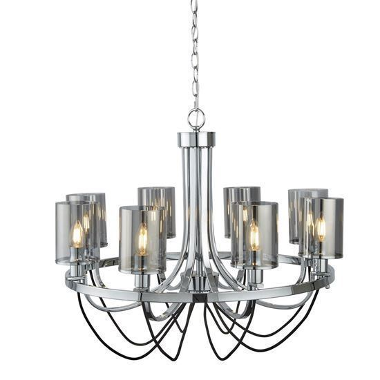 8 LIGHT CEILING FITTING, CHROME, BLACK BRAIDED CABLE, SMOKED GLASS SHADES 9048-8CC