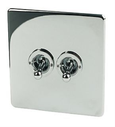 7T72/HPC 2 Gang Polished Chrome Toggle Switch