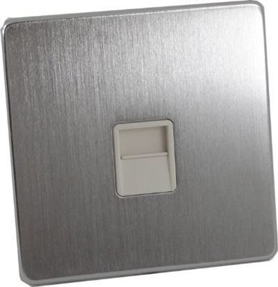 7784/SC/WH Satin Chrome Telephone Master Socket