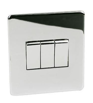 7173/HPC 3 Gang Polished Chrome Light Switch