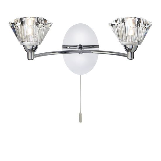 2632-2CC SIERRA CHROME 2 LIGHT WALL BRACKET WITH SCULPTURED GLASS SHADES
