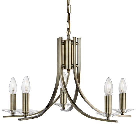 ASCONA ANTIQUE BRASS 5 LIGHT FITTING WITH CLEAR GLASS SCONCES 4165-5AB