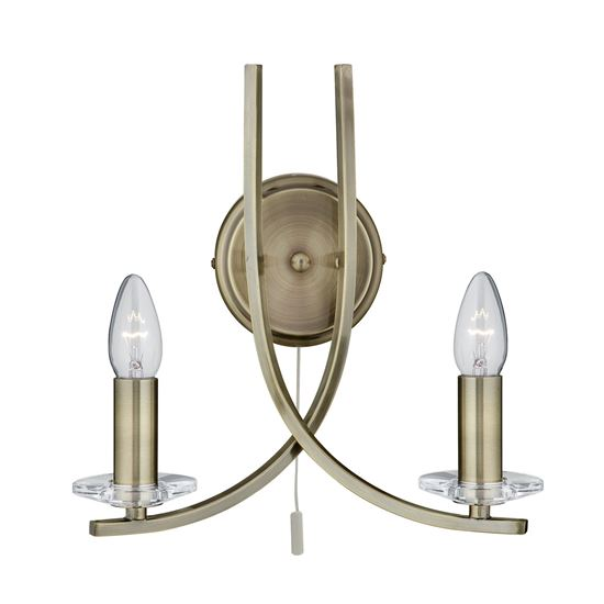 ASCONA ANTIQUE BRASS 2 LIGHT WALL BRACKET WITH CLEAR GLASS SCONCES 4162-2AB
