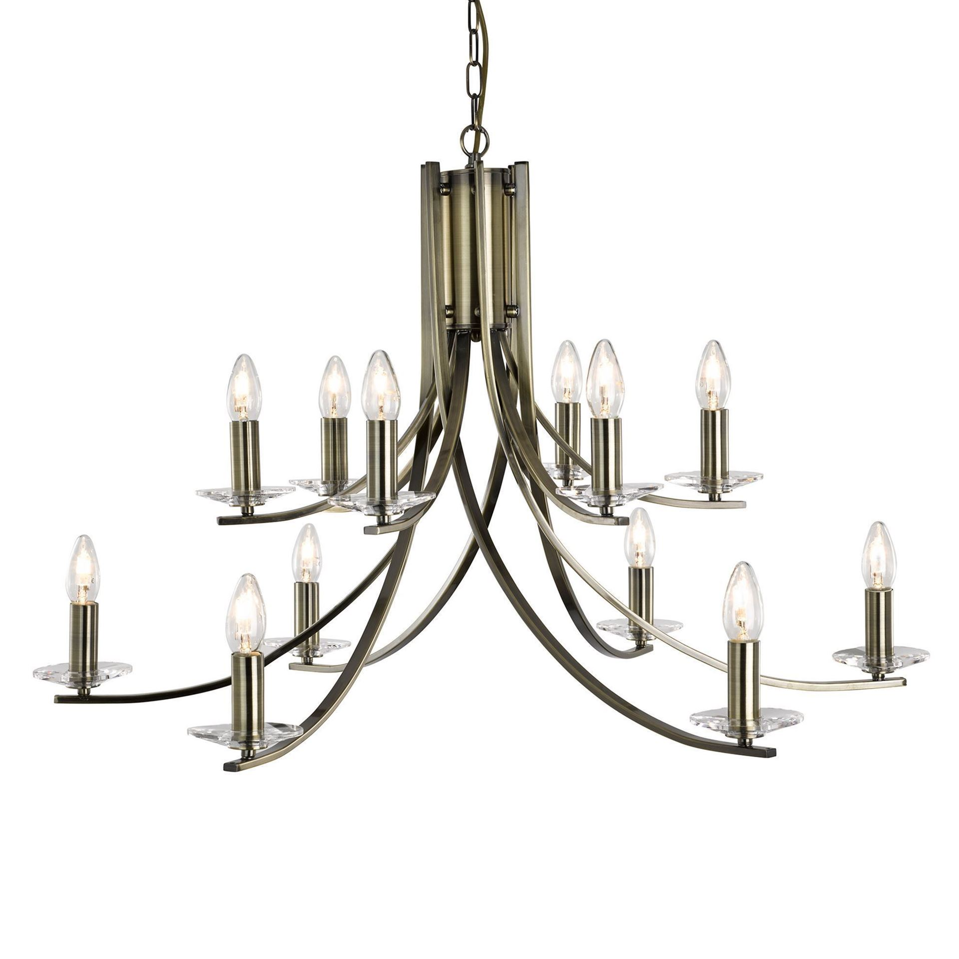ASCONA ANTIQUE BRASS 12 LIGHT FITTING WITH CLEAR GLASS SCONCES 41612-12AB