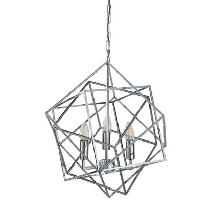 3 LIGHT PENDANT, GEOMETRIC CUBE FRAME, CHROME 7863-3CC