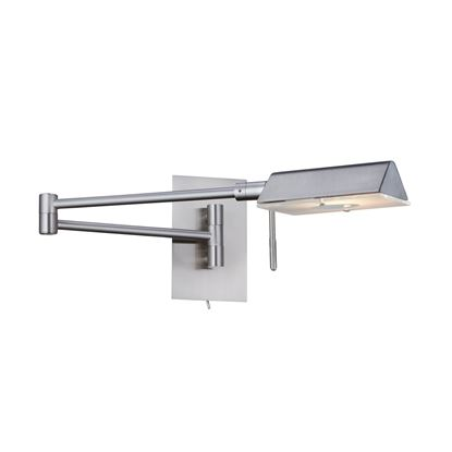 APOTHECARY SATIN SILVER ADJUSTABLE SWING-ARM WALL LIGHT 7665SS