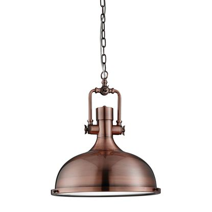 ANTIQUE COPPER INDUSTRIAL PENDANT LIGHT WITH FROSTED DIFFUSER 1322CU