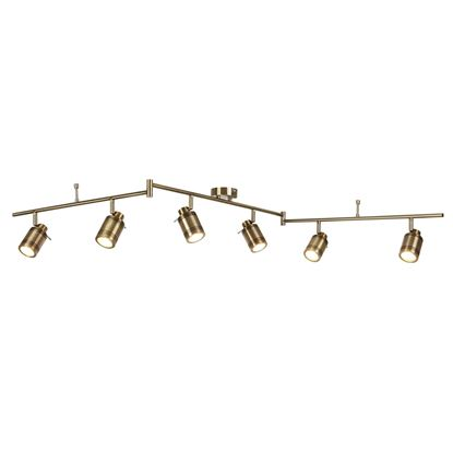 ANTIQUE BRASS, SAMSON 6 LIGHT IP44 BATHROOM SPOT SPLIT-BAR, ADJUSTABLE HEADS 6606AB