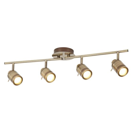 ANTIQUE BRASS, SAMSON 4 LIGHT IP44 BATHROOM SPOT SPLIT-BAR, ADJUSTABLE HEADS 6604AB
