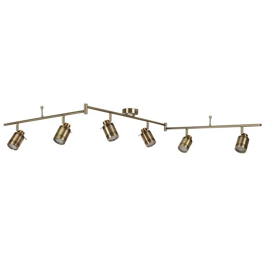 ANTIQUE BRASS, 6 LIGHT IP44 BATHROOM SPOT SPLIT-BAR, ADJUSTABLE HEADS 6606AB