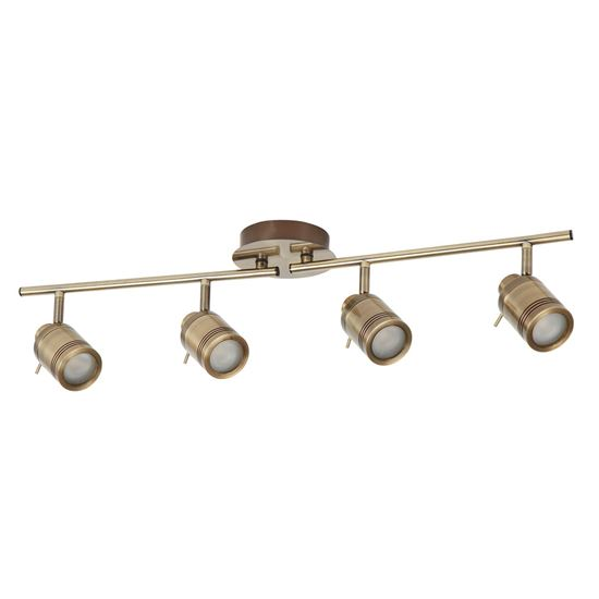 ANTIQUE BRASS, 4 LIGHT IP44 BATHROOM SPOT SPLIT-BAR, ADJUSTABLE HEADS 6604AB