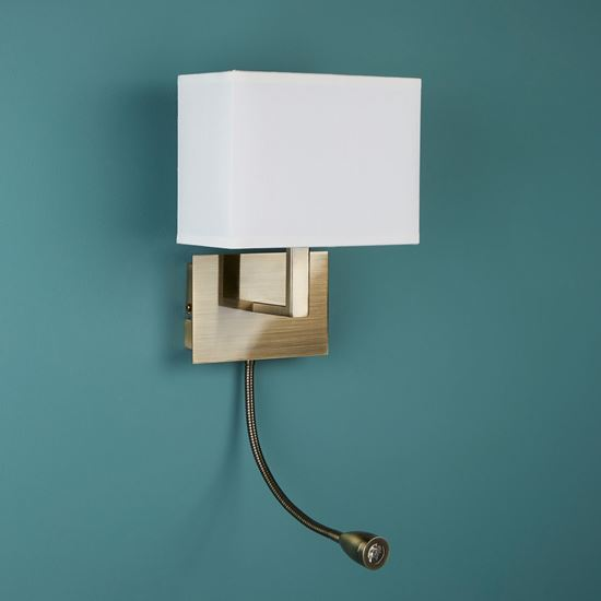 ANTIQUE BRASS WALL LIGHT WITH WHITE SHADE INCORPORATING LED FLEXI-ARM, SWITCHED 6519AB
