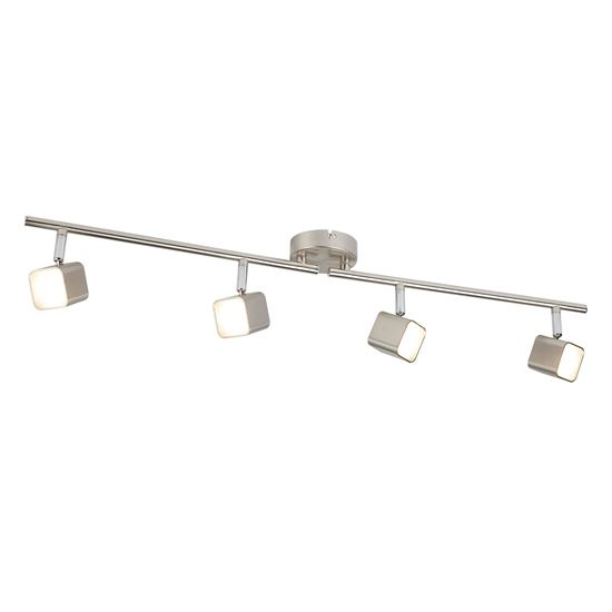 4 LIGHT LED SQUARE HEAD SPOT SPLIT-BAR, SATIN SILVER 4234SS