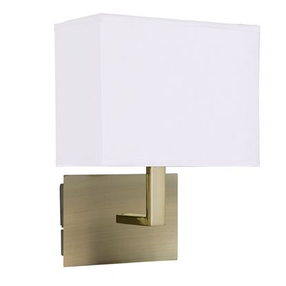 ANTIQUE BRASS WALL LIGHT WITH WHITE RECTANGULAR FABRIC SHADE, BLACK SWITCH 5519AB