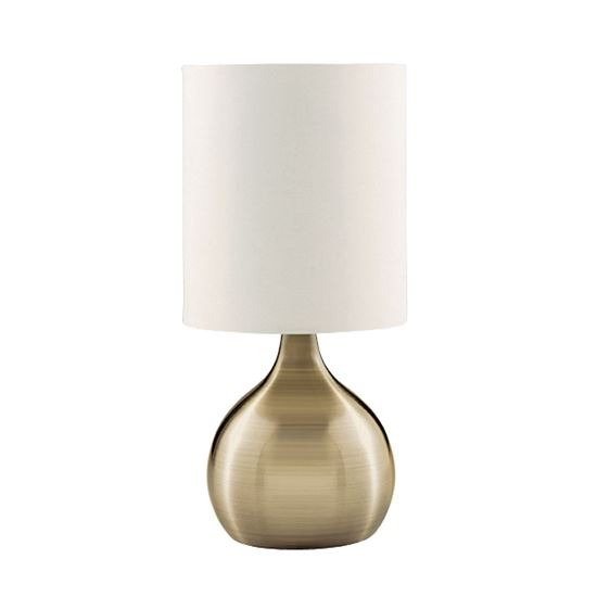 ANTIQUE BRASS TOUCH TABLE LAMP WITH WHITE FABRIC SHADE 3923AB