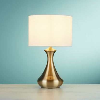 ANTIQUE BRASS TOUCH TABLE LAMP WITH CREAM FABRIC SHADE 2750AB