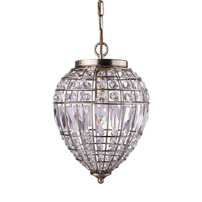 ANTIQUE BRASS PENDANT LIGHT WITH CRYSTAL GLASS BUTTONS 3991AB
