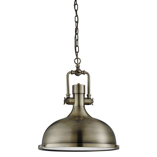 ANTIQUE BRASS INDUSTRIAL PENDANT LIGHT WITH FROSTED DIFFUSER 1322AB