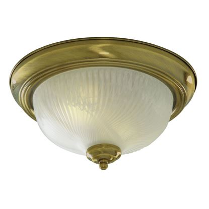 ANTIQUE BRASS FLUSH LIGHT WITH OPAL GLASS DIFFUSER 7622-11AB