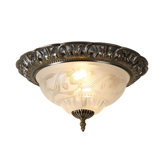 ANTIQUE BRASS FLUSH LIGHT WITH CLEAR & FROSTED GLASS DIFFUSER 7045-13