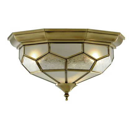 ANTIQUE BRASS FLUSH LIGHT FITTING WITH CLEAR, FROSTED AND SANDED GLASS 1243-12