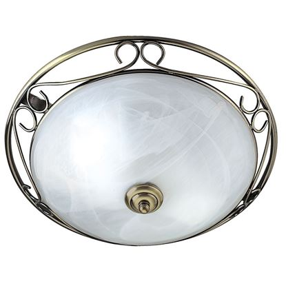 ANTIQUE BRASS FLUSH FITTING WITH MARBLE GLASS DIFFUSER 6436