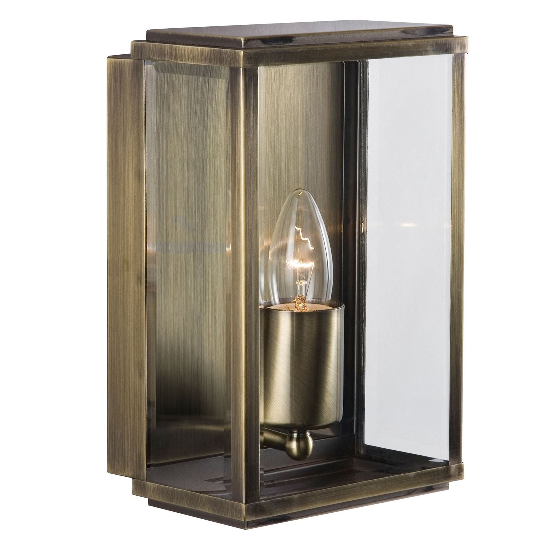 ANTIQUE BRASS BOX IP44 RECTANGULAR OUTDOOR WALL LIGHT WITH BEVELLED GLASS 8204AB