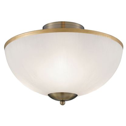 ANTIQUE BRASS 3 LIGHT FLUSH FITTING WITH OPAL GLASS SHADE 6580AB
