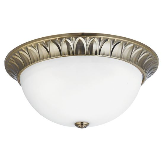ANTIQUE BRASS 3 LIGHT FLUSH FITTING WITH FROSTED OPAL GLASS 4149-38AB