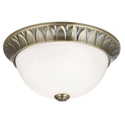 ANTIQUE BRASS 2 LIGHT FLUSH FITTING WITH FROSTED OPAL GLASS 4148-28AB