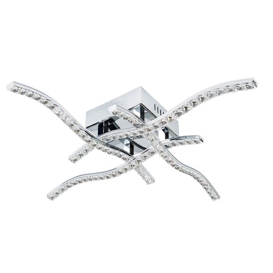 ANSON 4 ARM LED CHROME CEILING FLUSH, WITH CLEAR CRYSTAL TRIM 4204-4CC