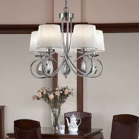 ANGELIQUE CHROME 5 LIGHT CEILING FITTING WITH PLEATED SHADE 1025-5CC