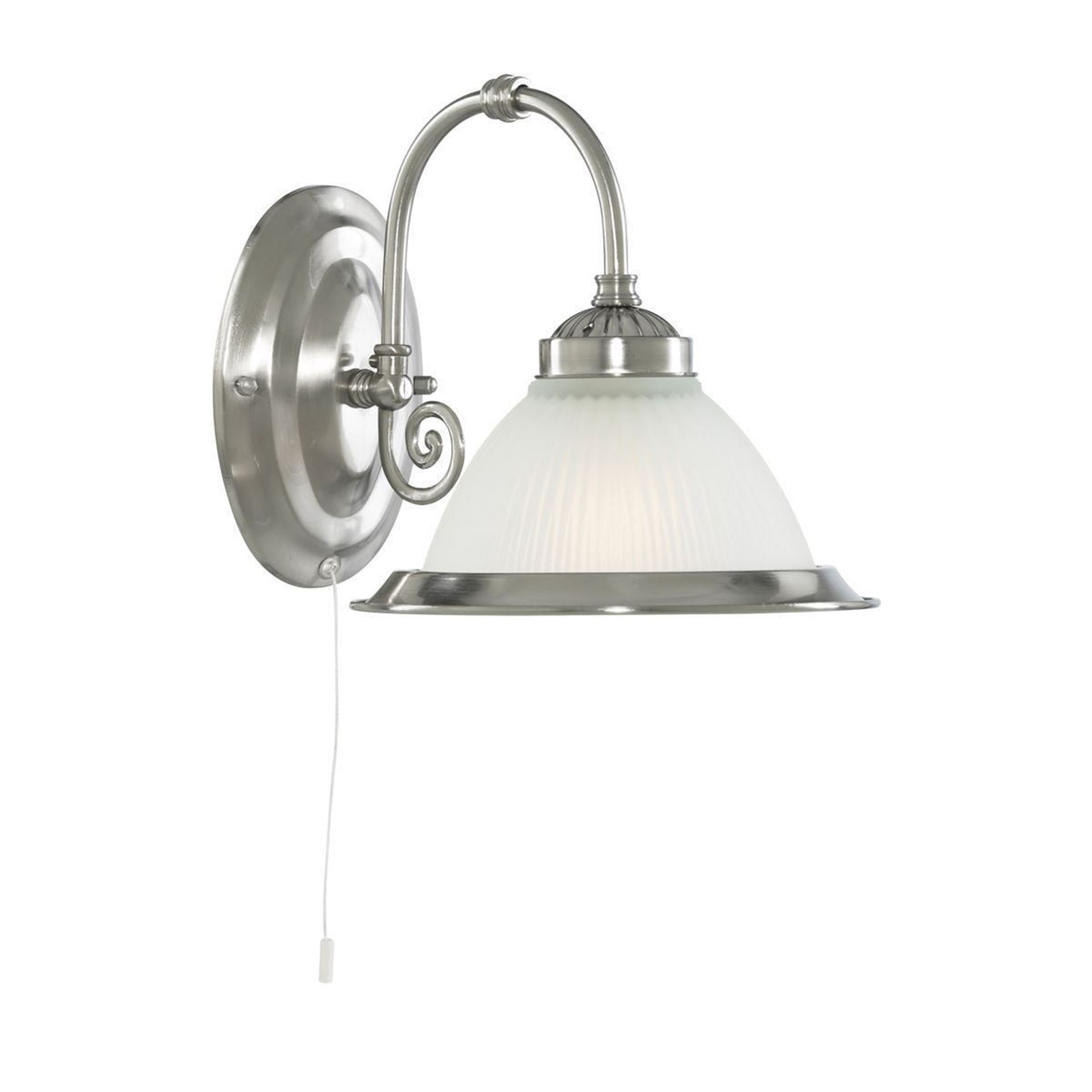 AMERICAN DINER SATIN SILVER WALL LIGHT WITH ACID RIBBED GLAS 1041-1