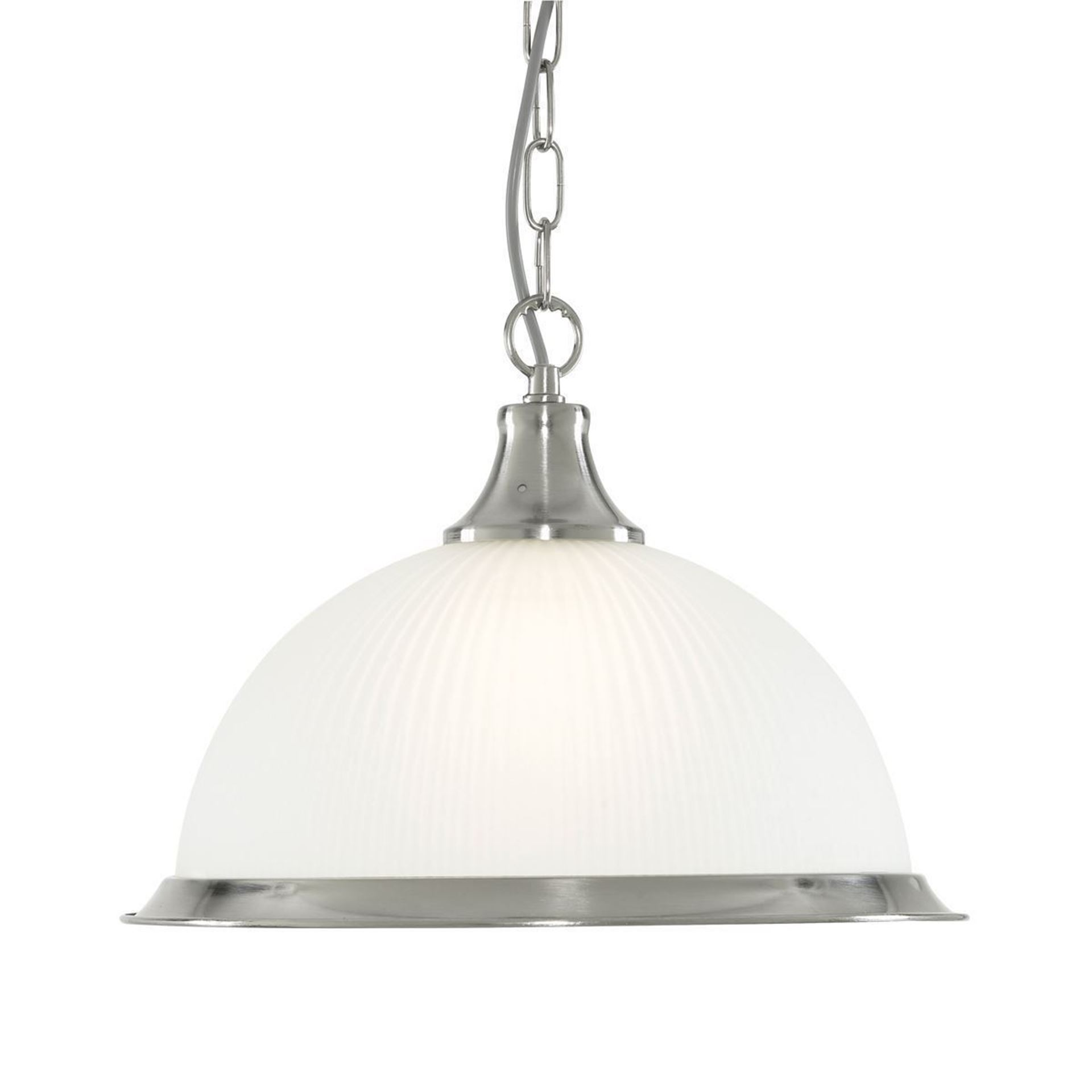 AMERICAN DINER SATIN SILVER PENDANT WITH ACID RIBBED GLASS 1044