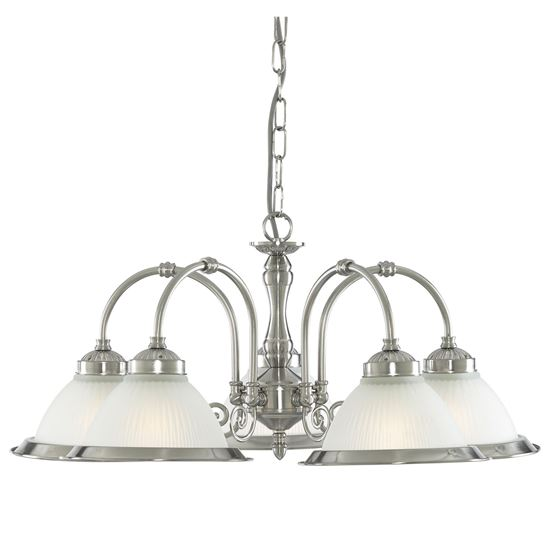 AMERICAN DINER SATIN SILVER 5 LIGHT FITTING WITH ACID RIBBED GLASS 1045-5