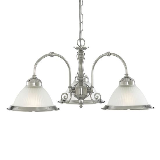 AMERICAN DINER SATIN SILVER 3 LIGHT FITTING WITH ACID RIBBED GLASS 1043-3