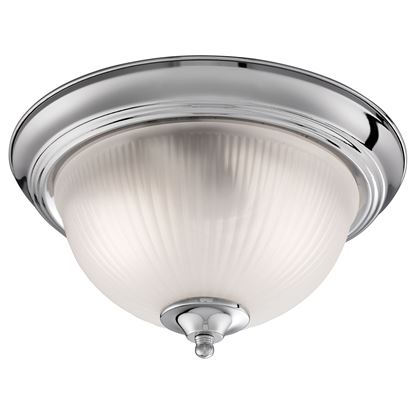 AMERICAN DINER IP44 CHROME FLUSH FITTING WITH ACID RIBBED GLASS 4042