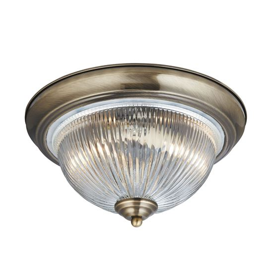 AMERICAN DINER IP44 ANTIQUE BRASS FLUSH FITTING, CLEAR RIBBED GLASS/BATHROOM USE 4370