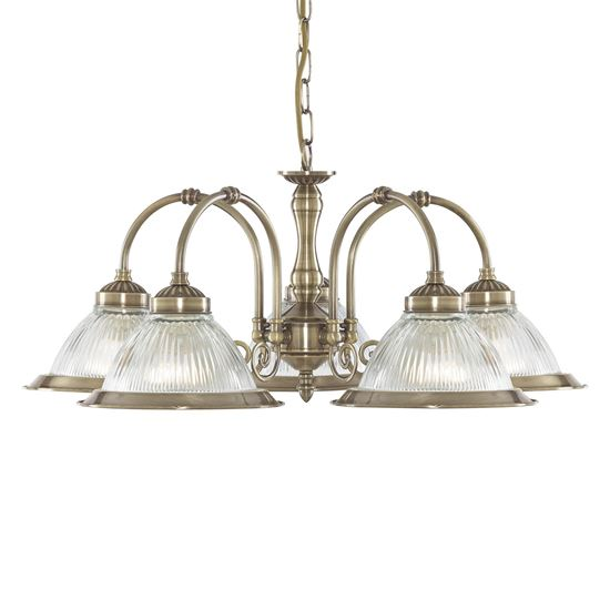 AMERICAN DINER ANTIQUE BRASS 5 LIGHT FITTING WITH CLEAR RIBBED GLASSES 9345-5