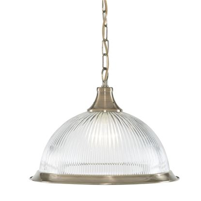 AMERICAN DINER - ANTIQUE BRASS, 1 LIGHT PENDANT, CLEAR RIBBED GLASS 9369