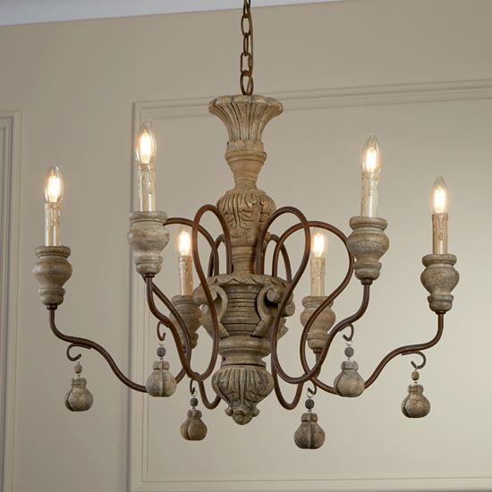 AMALFI RUSTIC BROWN, 6 LIGHT PENDANT FITTING, WEATHERED FAUX STONE 5836-6BR